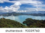 A panoramic view of the beautiful Sun Moon Lake in southern Taiwan - stock photo
