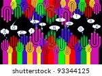 happy group of finger smileys...   Shutterstock .eps vector #93344125