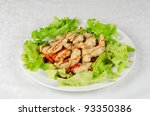Dish of roasted filet pikeperch with vegetables - stock photo