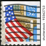 UNITED STATES OF AMERICA - CIRCA 1995: A stamp printed in the USA shows United States Flag Over Porch, circa 1995 - stock photo