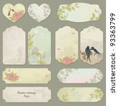 set of vector vintage cards... | Shutterstock .eps vector #93363799