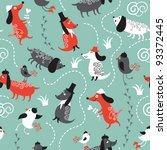 cute pattern with dogs and birds | Shutterstock .eps vector #93372445