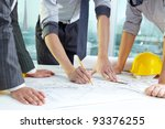 three pairs of hands sketching... | Shutterstock . vector #93376255