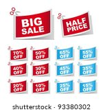 blue and red coupons  big sale  ... | Shutterstock .eps vector #93380302