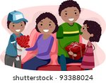 Illustration of Kids Giving Their Parents Valentine's Gifts - stock vector
