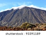 Mountain top, Tenerife, Teide, Canary Islands, Spain, Pico del Teide volcano with beautiful cloud formations. - stock photo