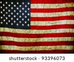 american flag on a cracked... | Shutterstock . vector #93396073