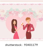 young couple flirt and drink... | Shutterstock .eps vector #93401179