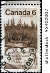 Small photo of CANADA - CIRCA 1970: A stamp printed in Canada honoring Sir Alexander Mackenzie explorer, shows Mackenzie's Inscription, Dean Channel, circa 1970