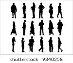 vector silhouettes of people in ... | Shutterstock .eps vector #9340258