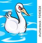 a swan swimming in water    Shutterstock .eps vector #9340828