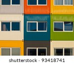 cargo container apartments as a solution to housing problem - stock photo