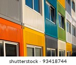multicolored cargo containers used for housing - stock photo