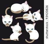 Stock vector white kitten in various poses on black background 93420826