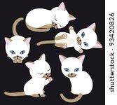 Stock vector white kitten in various poses on black background 93420826