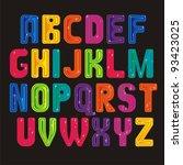 bright colored alphabet on black | Shutterstock .eps vector #93423025