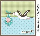 baby boy arrival card  vector | Shutterstock .eps vector #93428833