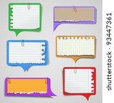 set of torn paper speech... | Shutterstock .eps vector #93447361