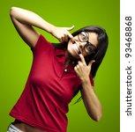 portrait of happy young woman... | Shutterstock . vector #93468868