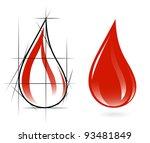 sketch of blood drop | Shutterstock .eps vector #93481849