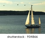 homewards   boat in the evening | Shutterstock . vector #934866