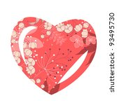 heart shaped frame with... | Shutterstock .eps vector #93495730