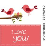 love you card with loving birds ... | Shutterstock .eps vector #93496960