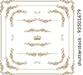 vector set of gold decorative... | Shutterstock .eps vector #93501679
