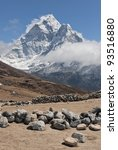 Small photo of Summer yak farm Dusa against the Himalaya peak Ama Dablam