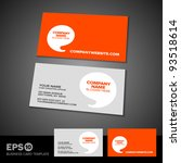 Orange speech bubble business card template with light textured front | Shutterstock vector #93518614