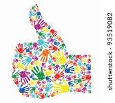 abstract human hand giving ok | Shutterstock .eps vector #93519082