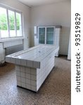 Small photo of Sachsenhausen-Oranienburg was a Nazi concentration camp in Germany, autopsy room medical post mortem table which is now a Museum