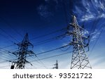 Power Line against sky background. - stock photo