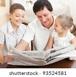 happy family reading a... | Shutterstock . vector #93524581