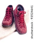 sports  warm  red boots on a... | Shutterstock . vector #93524641