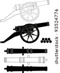 Ancient artillery gun XVIII - XIX-th century - vector isolated illustration, white background. Set. Kernels.