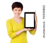 girl with tablet on a white background - stock photo