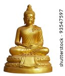 Isolated Shot Of Golden Statue...
