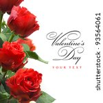 Stock photo art valentines greeting card with red roses isolated on white background 93564061