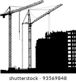 silhouette of two cranes... | Shutterstock .eps vector #93569848
