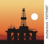 silhouette of an oil drilling...   Shutterstock .eps vector #93570487