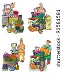 set of vendors   cartoon | Shutterstock .eps vector #93581581