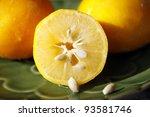 Freshly Cut Meyer Lemon With...