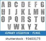 alphabet   floral   vector | Shutterstock .eps vector #93603175