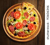pizza with ham  pepper and... | Shutterstock . vector #93606346