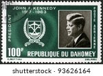 REPUBLIC OF DAHOMEY - CIRCA 1965: A stamp printed in Republic of Dahomey shows President John F. Kennedy (1917-1963), circa 1965 - stock photo