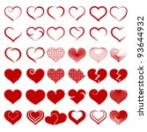 red heart collection icon  love ... | Shutterstock .eps vector #93644932