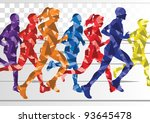 marathon runners in colorful... | Shutterstock .eps vector #93645478