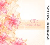 wedding card or invitation with ... | Shutterstock .eps vector #93661192