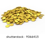 3d Rendered Gold Coins Isolate...